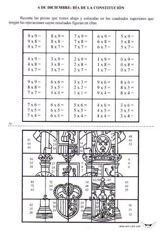 Ficha para repasar las tablas de multiplicar