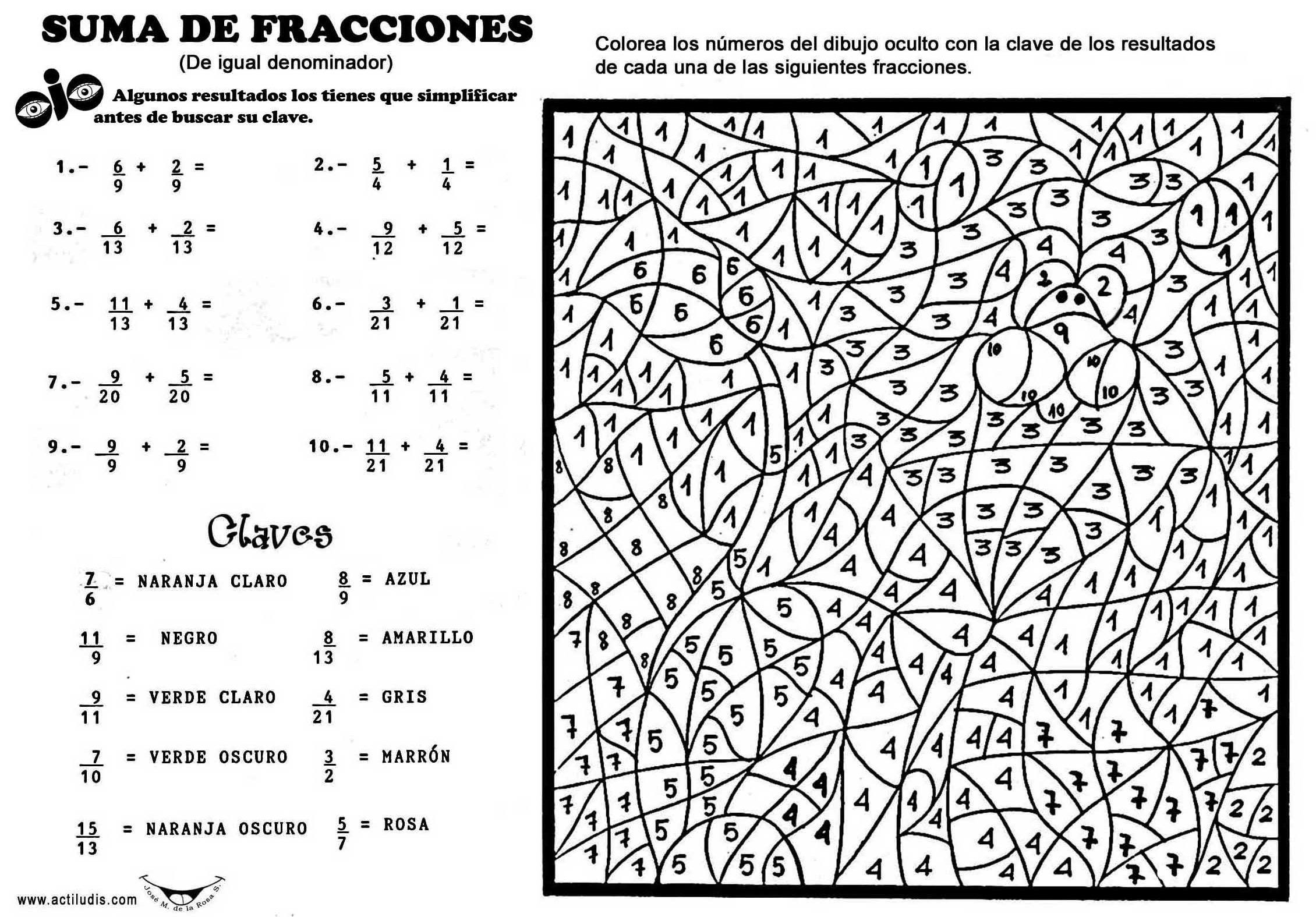 Resultado de imagen para actividades suma y resta de fracciones