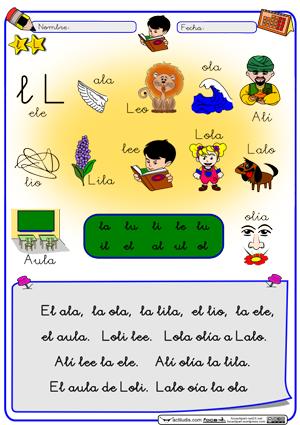 """Letra """"L"""" Método de lectoescritura gratuito """"Actiludis"""""""