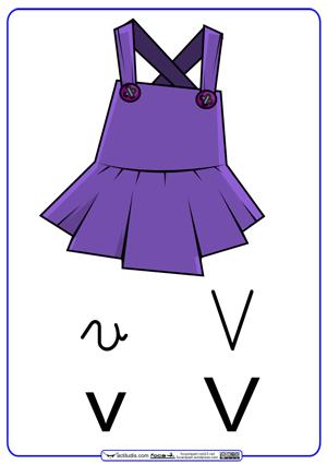 Letra V Con Grafía En Cursiva Actiludis