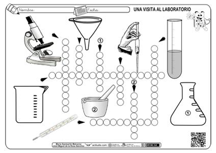 Crucigrama con herramientas de laboratorio - Actiludis