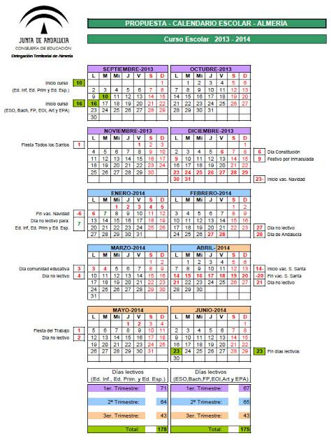 Todos los calendarios escolares con sus respectivos días lectivos y ...
