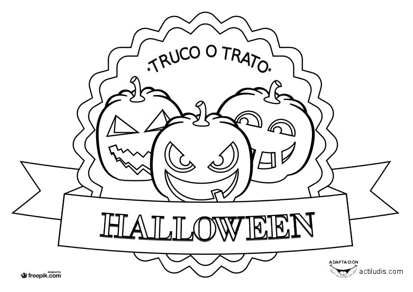Dibujos para colorear halloween actiludis - Calabaza halloween para colorear ...