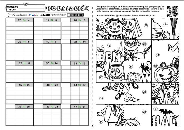 Excelente Halloween Ejercicios De Matemáticas Fotos - hojas de ...