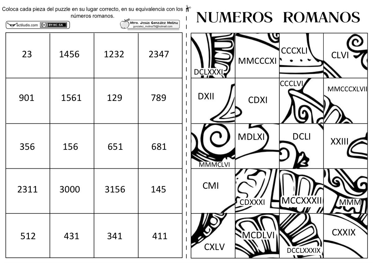 Puzzle De Numeros Romanos Actiludis
