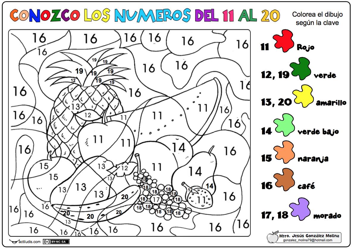 Dibujos Para Colorear De Los Numeros Del 1 Al 20: Conozco Los Números