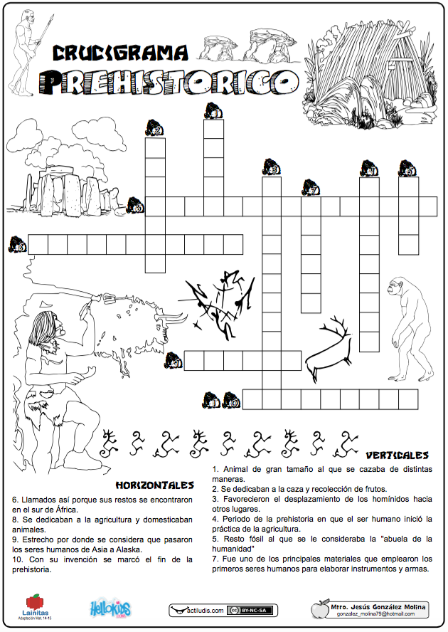 Crucigrama prehistórico - Actiludis