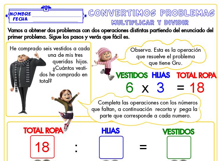 Convertimos Problemas De Multiplicar Y Dividir I Actiludis