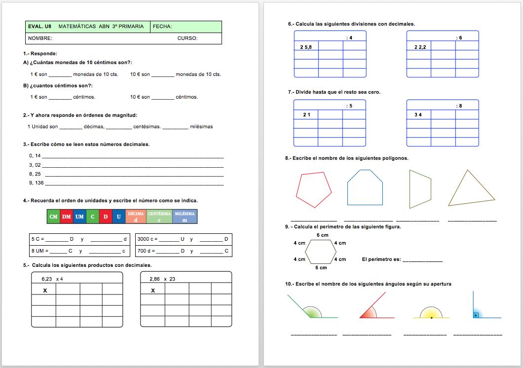 Evaluación Matemáticas ABN de 3º unidad 8 y para 4º unidad 7 - Actiludis