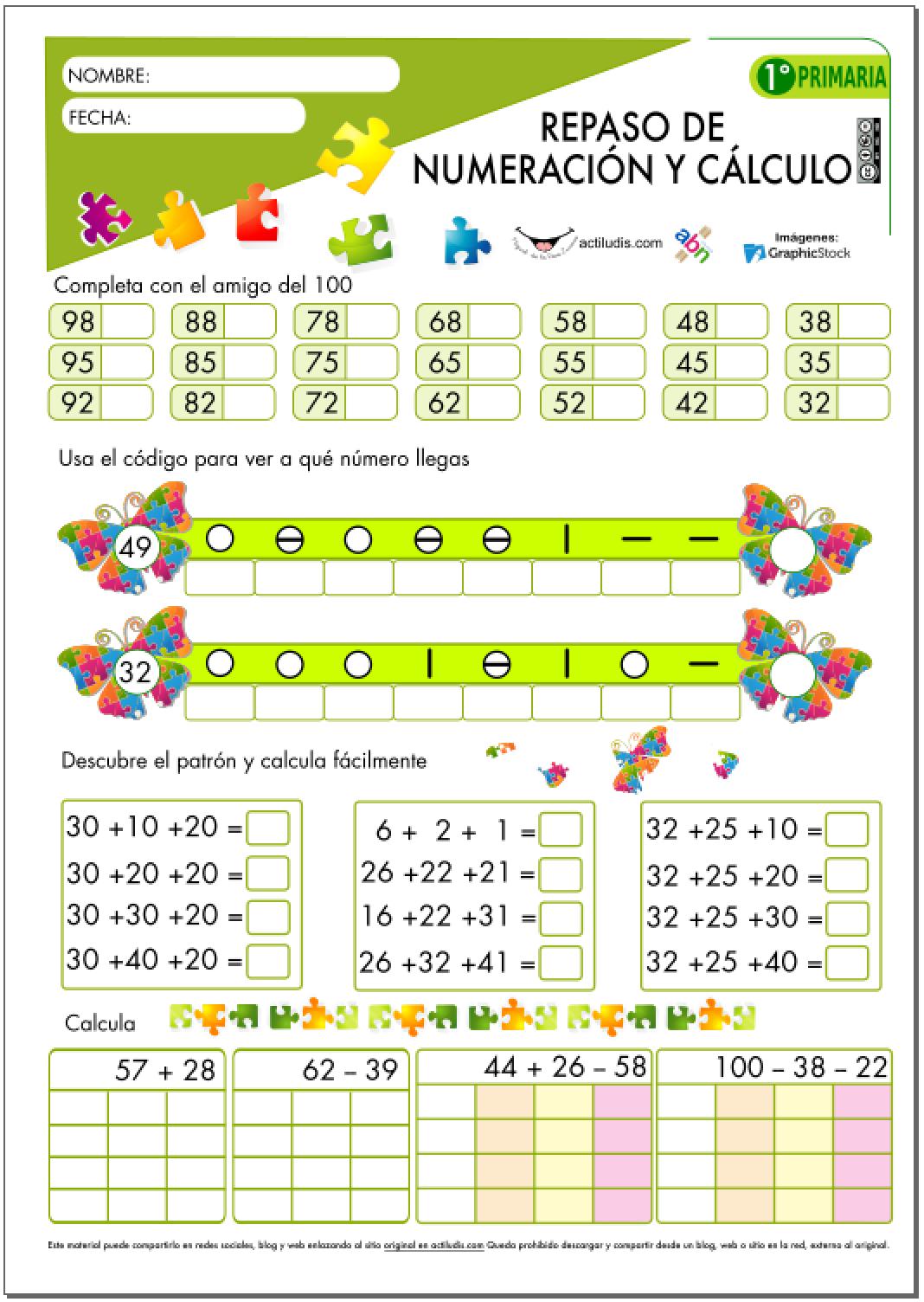Repaso de numeración y cálculo para 1º de Primaria - Actiludis